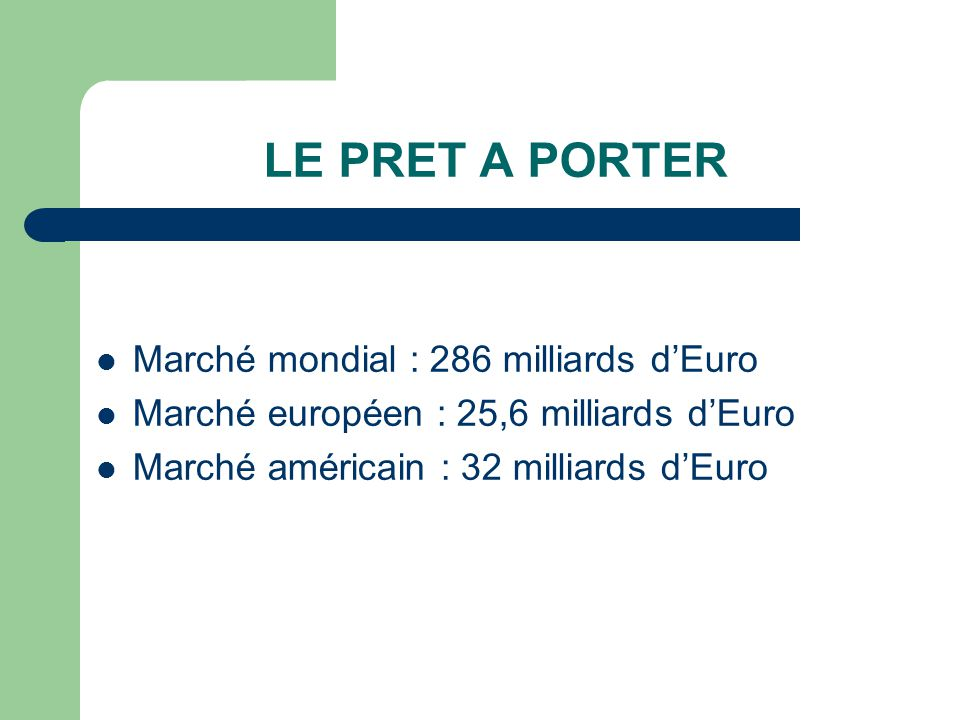LE PRET A PORTER Marché mondial : 286 milliards d'Euro