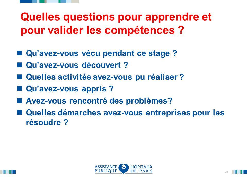 Quelles questions pour apprendre et pour valider les compétences