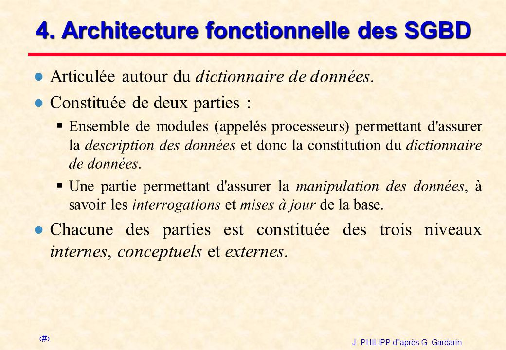 Sgbd introduction et architectures ppt video online for Architecture fonctionnelle