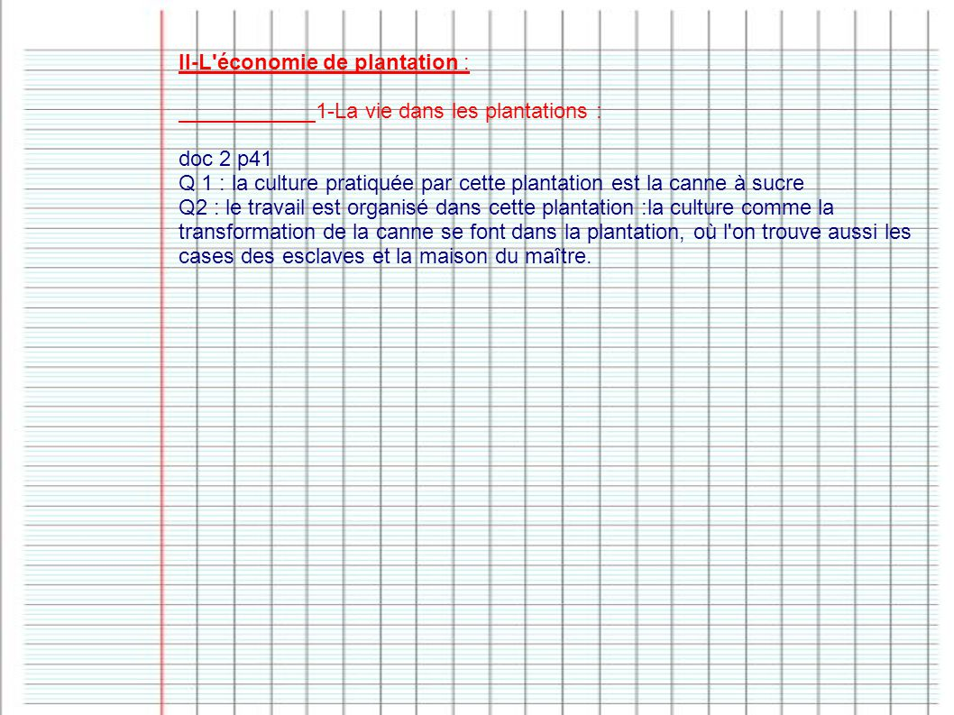 II-L économie de plantation :