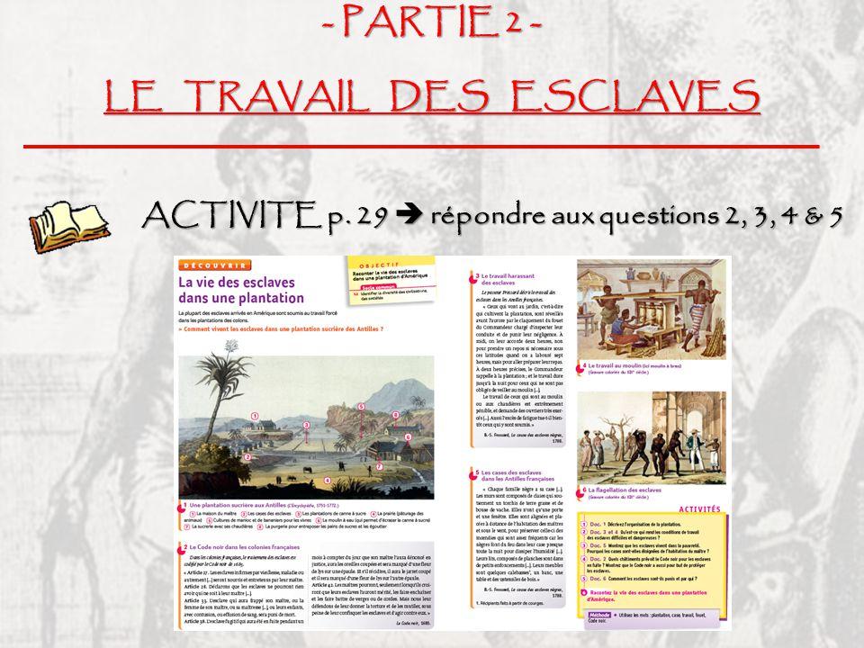 LE TRAVAIL DES ESCLAVES