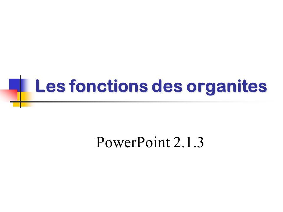Les fonctions des organites