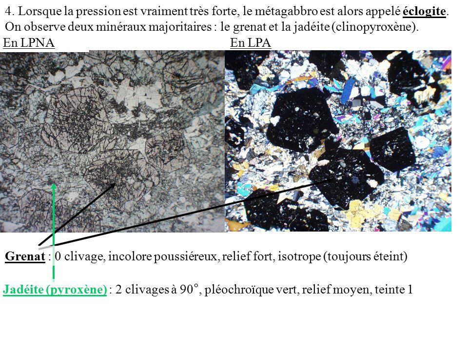 4. Lorsque la pression est vraiment très forte, le métagabbro est alors appelé éclogite. On observe deux minéraux majoritaires : le grenat et la jadéite (clinopyroxène).