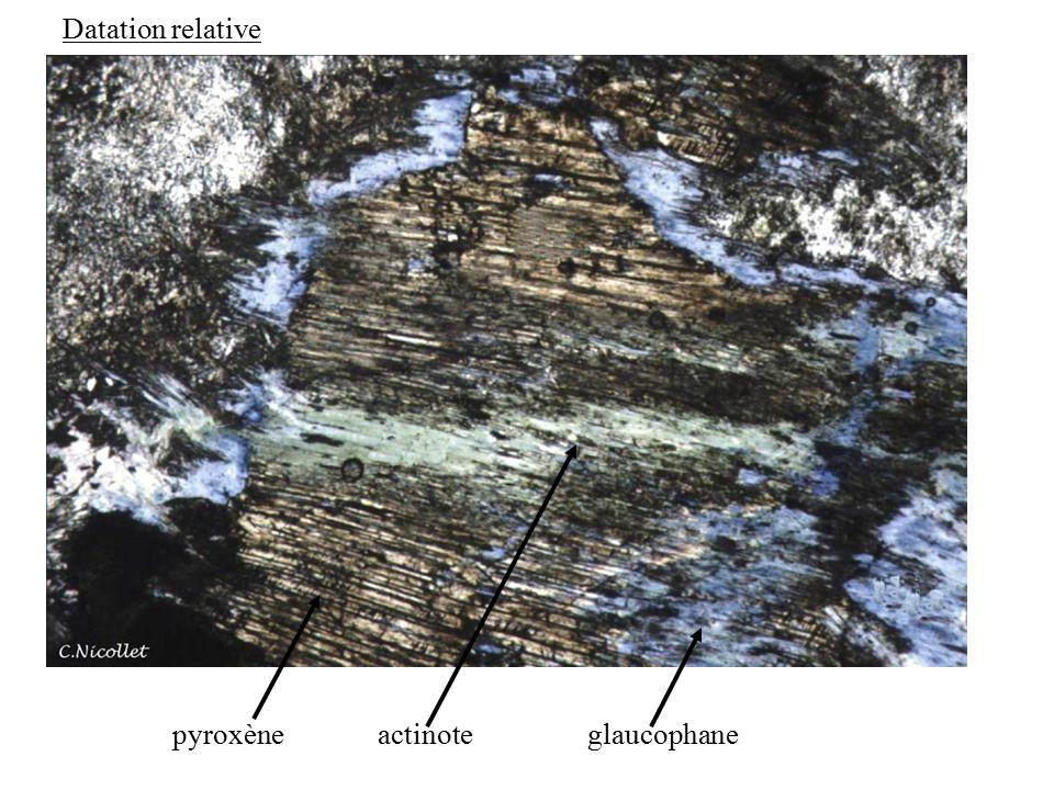 Datation relative pyroxène actinote glaucophane