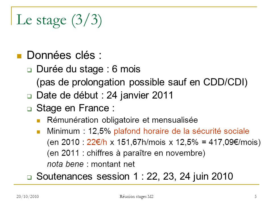 Stages master 10 2010 r union stages m2 ppt video - Du plafond horaire de la securite sociale ...