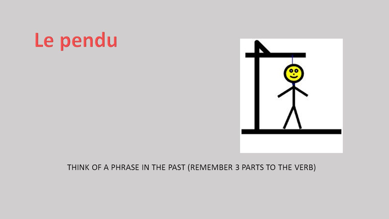 THINK OF A PHRASE IN THE PAST (REMEMBER 3 PARTS TO THE VERB)