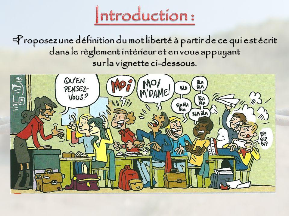 Education civique chapitre 1 l exercice des libert s en for Definition du reglement interieur