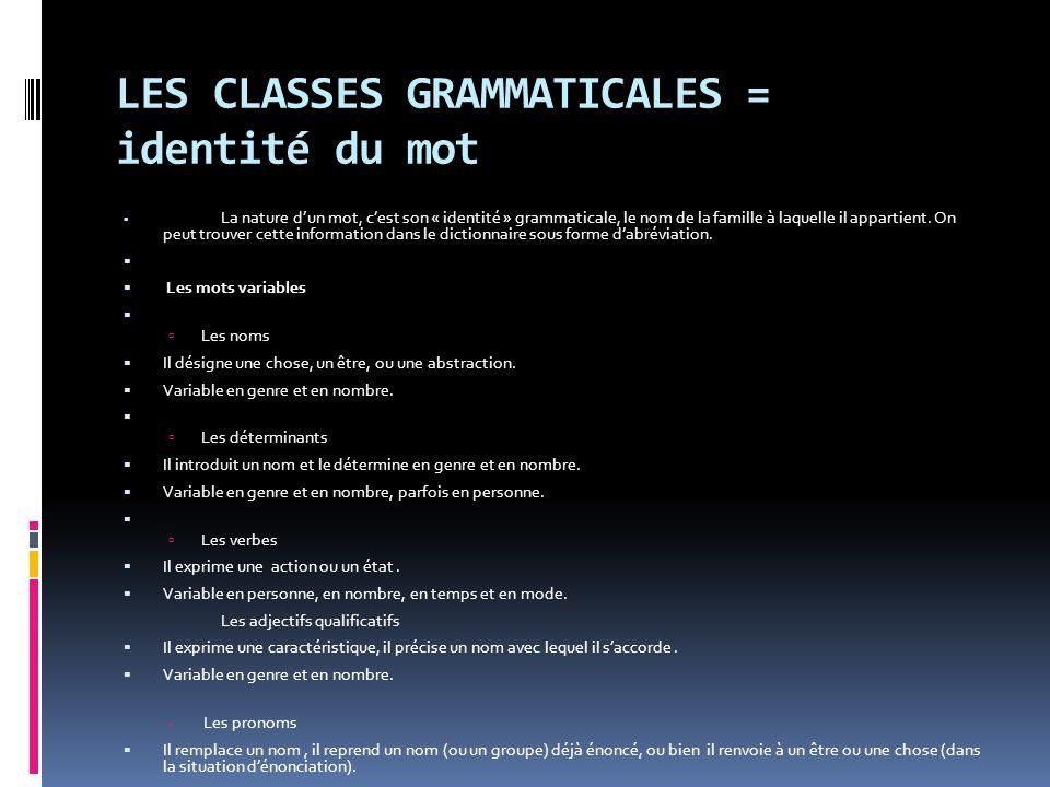 LES CLASSES GRAMMATICALES = identité du mot