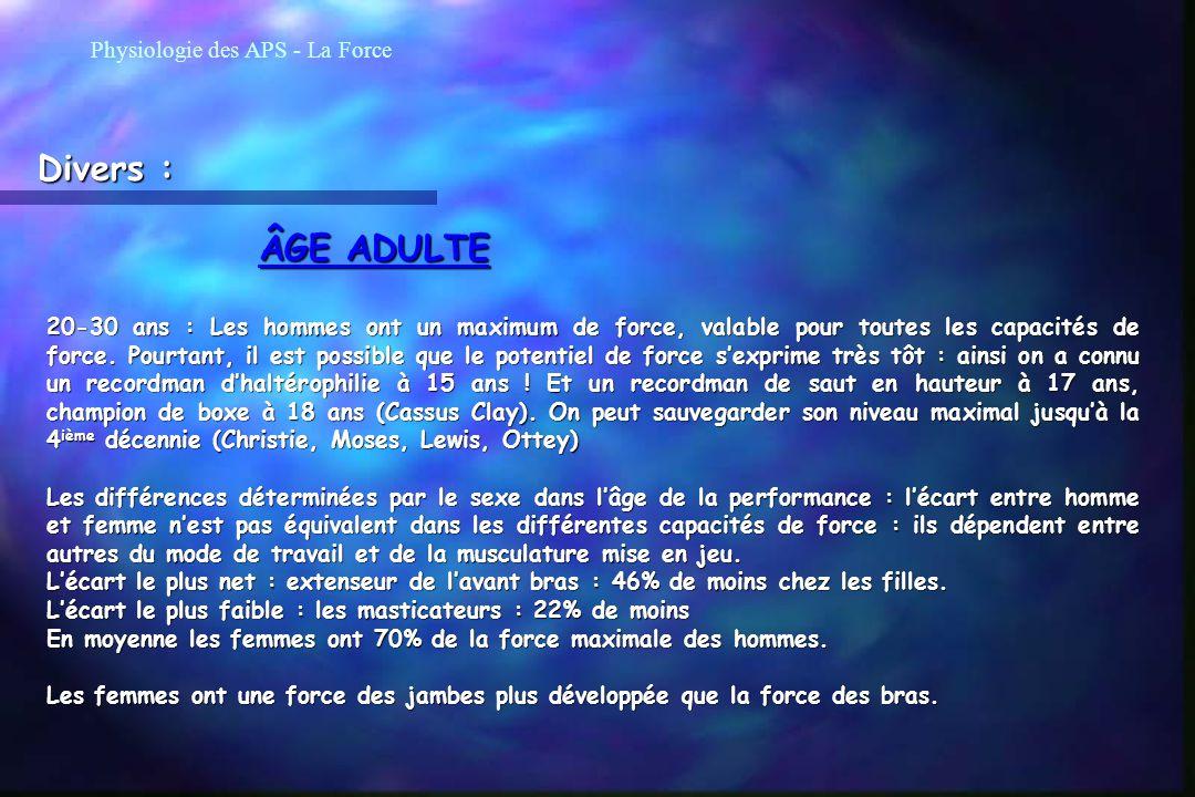 Divers : ÂGE ADULTE Physiologie des APS - La Force