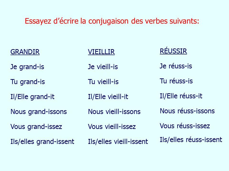 Essayez d'écrire la conjugaison des verbes suivants: