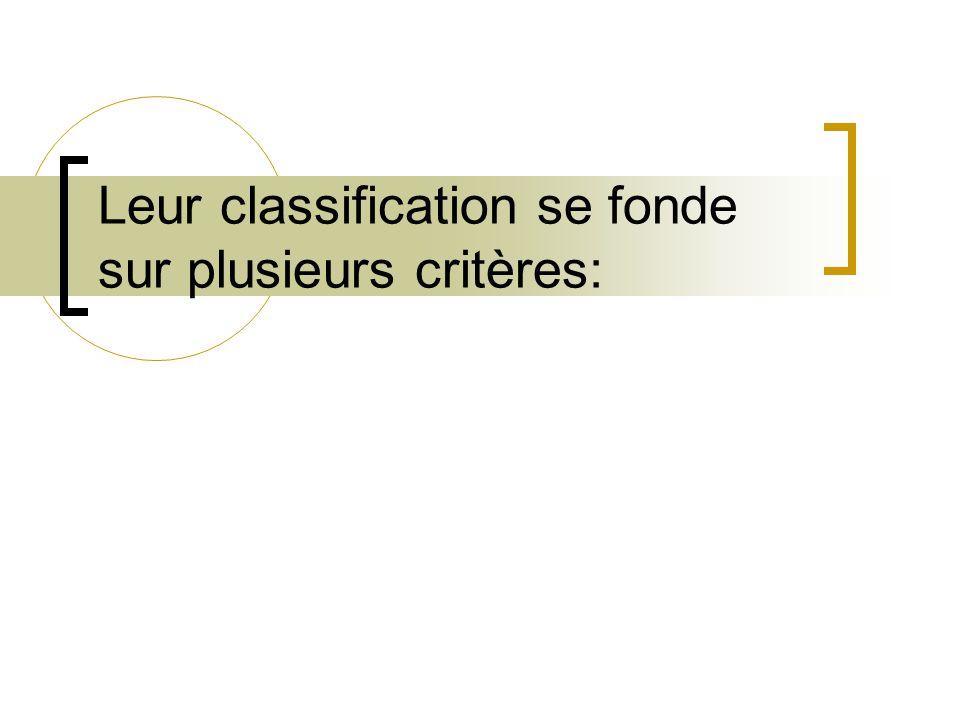 Leur classification se fonde sur plusieurs critères: