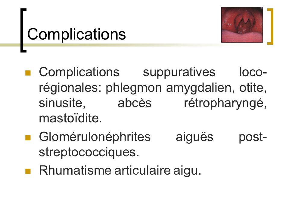 Complications Complications suppuratives loco-régionales: phlegmon amygdalien, otite, sinusite, abcès rétropharyngé, mastoïdite.