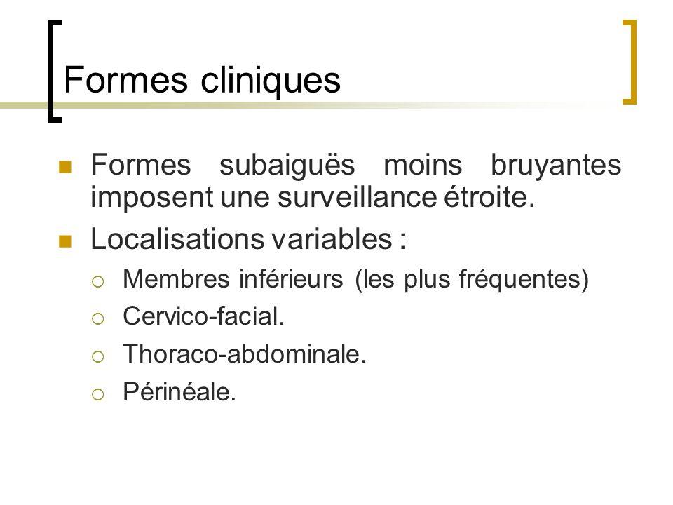 Formes cliniques Formes subaiguës moins bruyantes imposent une surveillance étroite. Localisations variables :