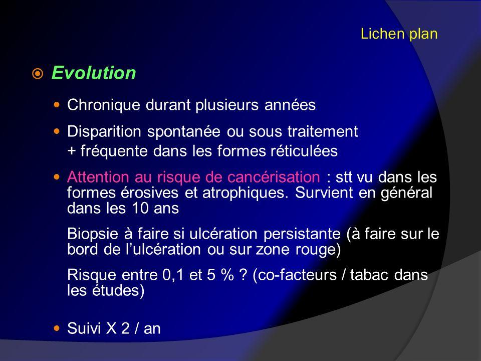 Evolution Lichen plan Chronique durant plusieurs années