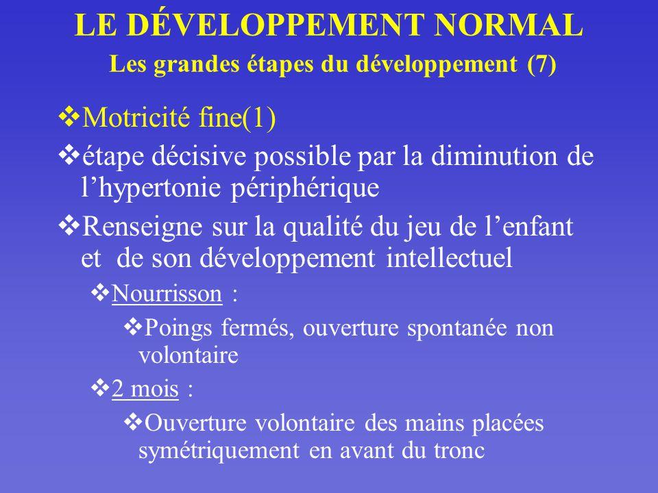 LE DÉVELOPPEMENT NORMAL Les grandes étapes du développement (7)