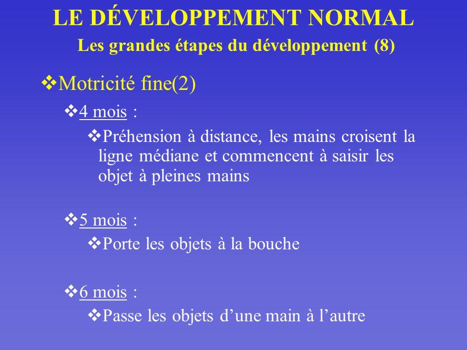 LE DÉVELOPPEMENT NORMAL Les grandes étapes du développement (8)