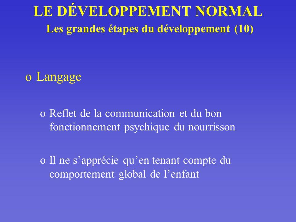 LE DÉVELOPPEMENT NORMAL Les grandes étapes du développement (10)