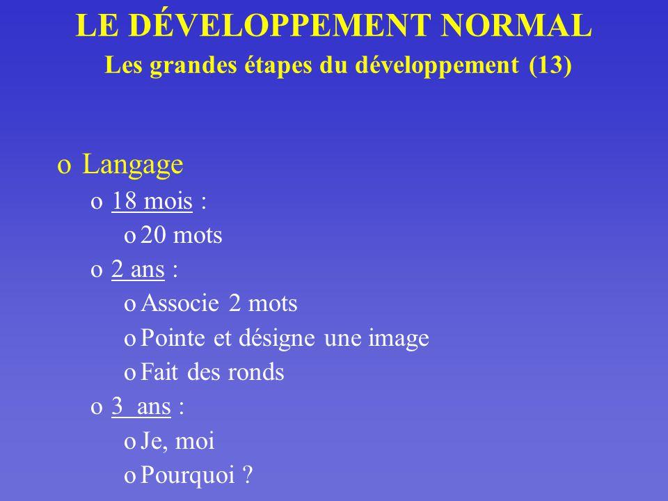 LE DÉVELOPPEMENT NORMAL Les grandes étapes du développement (13)