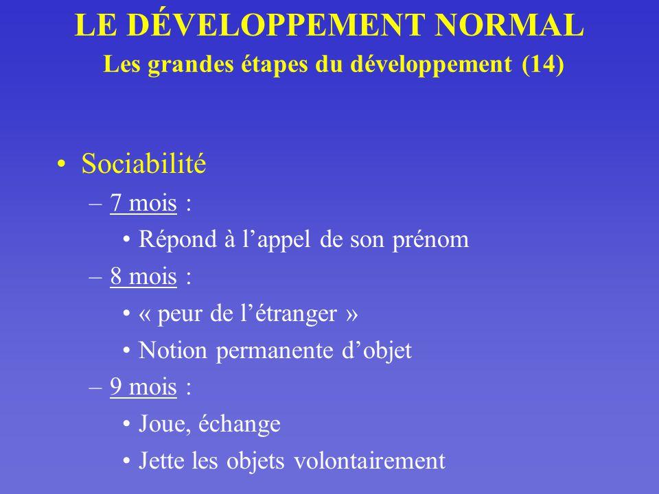 LE DÉVELOPPEMENT NORMAL Les grandes étapes du développement (14)