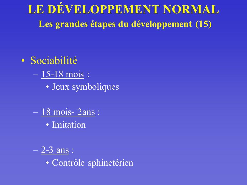 LE DÉVELOPPEMENT NORMAL Les grandes étapes du développement (15)