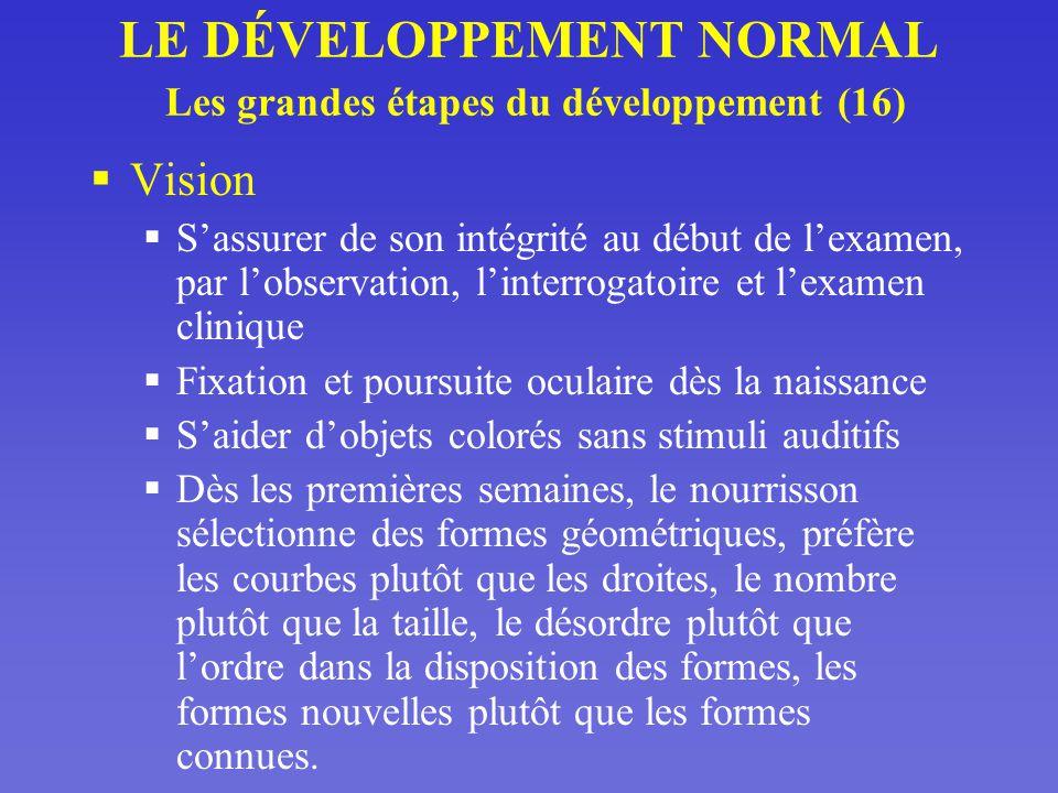 LE DÉVELOPPEMENT NORMAL Les grandes étapes du développement (16)