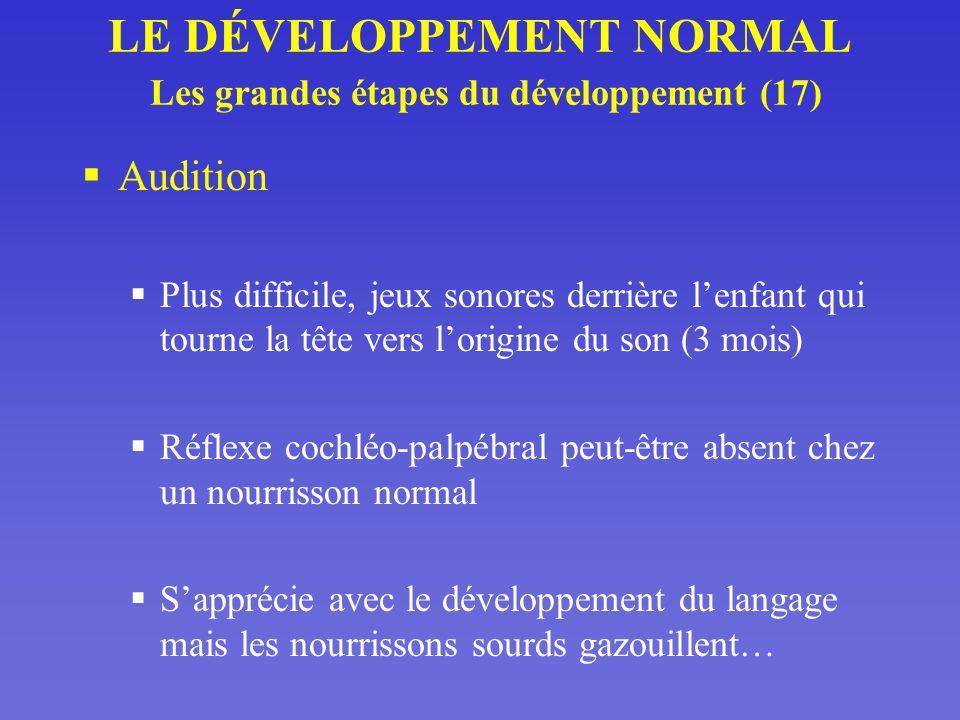 LE DÉVELOPPEMENT NORMAL Les grandes étapes du développement (17)