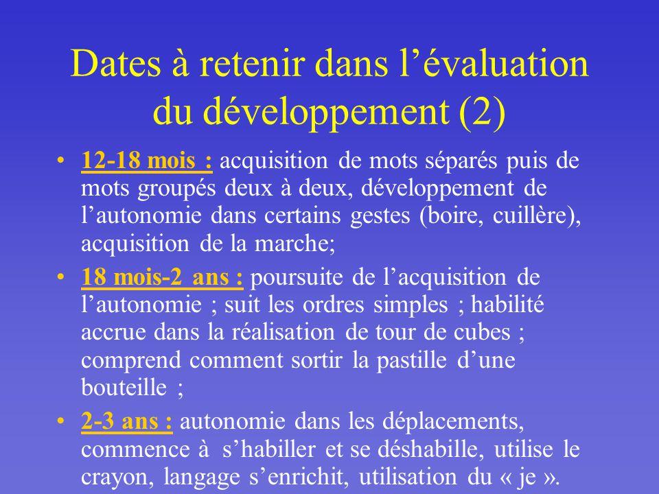 Dates à retenir dans l'évaluation du développement (2)