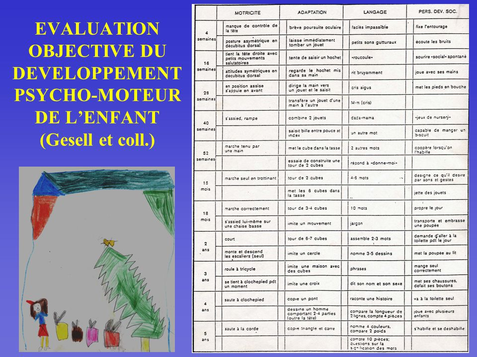 EVALUATION OBJECTIVE DU DEVELOPPEMENT PSYCHO-MOTEUR DE L'ENFANT (Gesell et coll.)