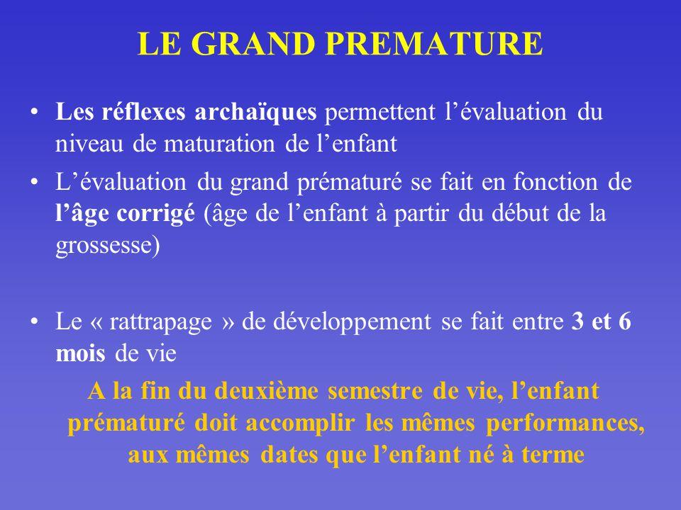 LE GRAND PREMATURE Les réflexes archaïques permettent l'évaluation du niveau de maturation de l'enfant.