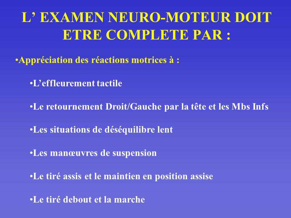 L' EXAMEN NEURO-MOTEUR DOIT ETRE COMPLETE PAR :