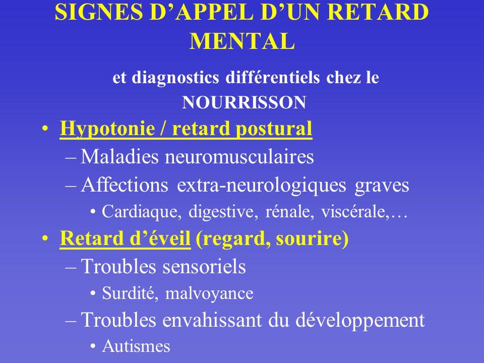 SIGNES D'APPEL D'UN RETARD MENTAL et diagnostics différentiels chez le NOURRISSON