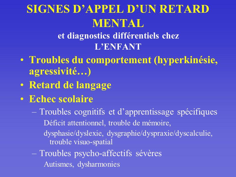 SIGNES D'APPEL D'UN RETARD MENTAL et diagnostics différentiels chez L'ENFANT
