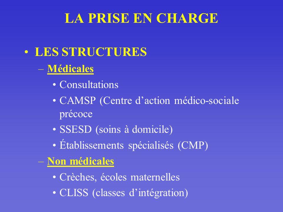 LA PRISE EN CHARGE LES STRUCTURES Médicales Consultations