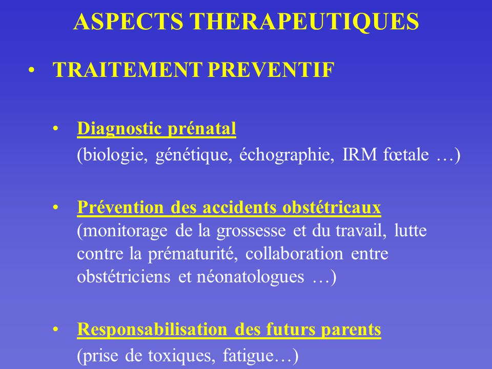 ASPECTS THERAPEUTIQUES