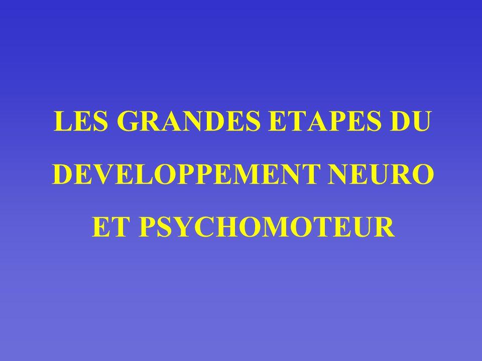 LES GRANDES ETAPES DU DEVELOPPEMENT NEURO ET PSYCHOMOTEUR