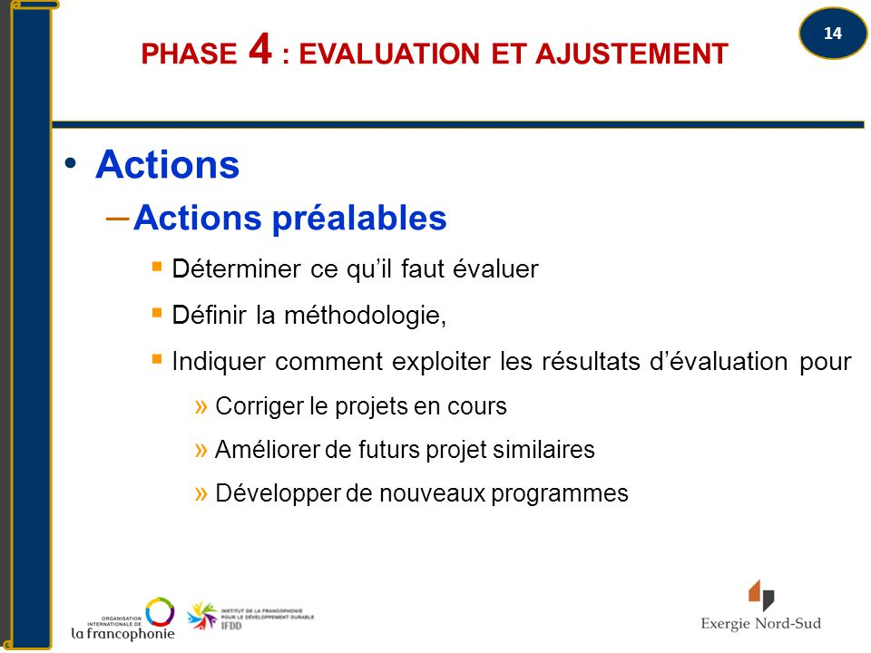 Phase 4 : Evaluation et ajustement