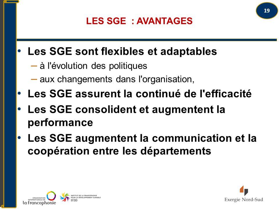 Les SGE sont flexibles et adaptables
