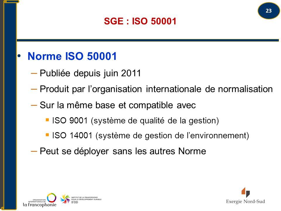 Norme ISO 50001 SGE : ISO 50001 Publiée depuis juin 2011