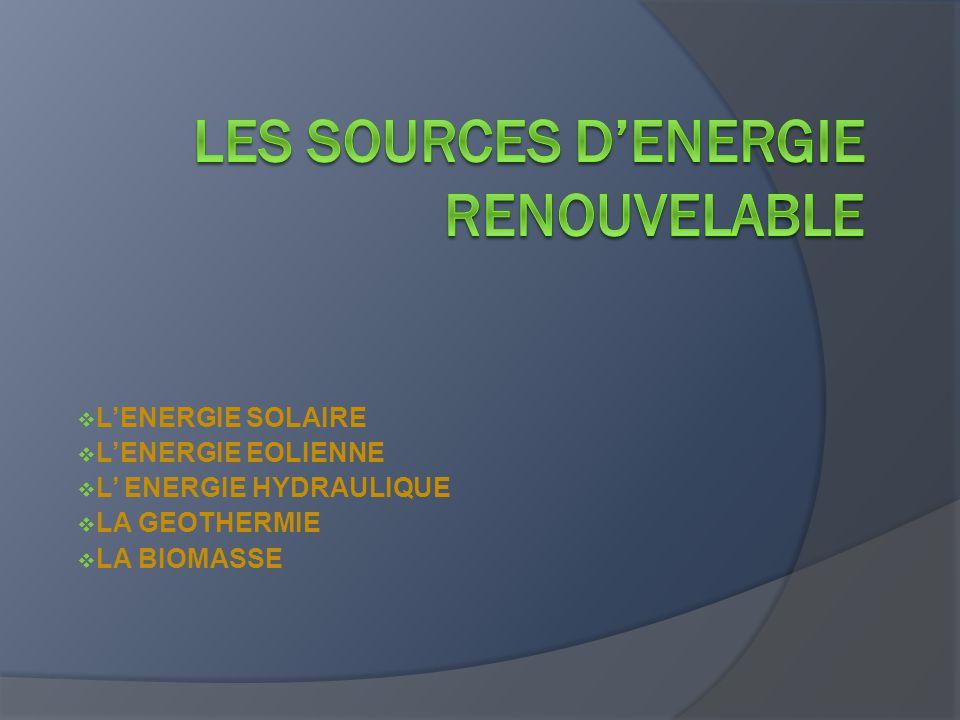 LES SOURCES D'ENERGIE RENOUVELABLE
