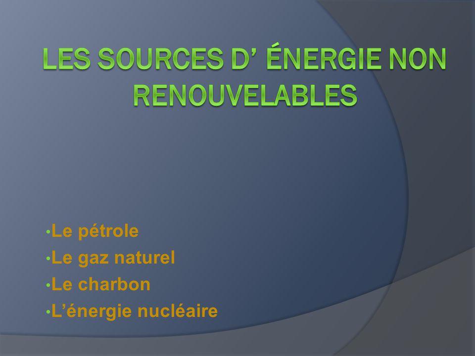 Les sources d' énergie non renouvelables