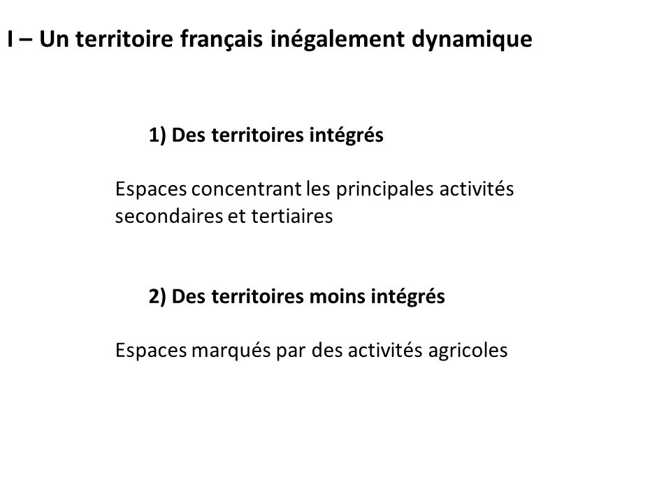 I – Un territoire français inégalement dynamique