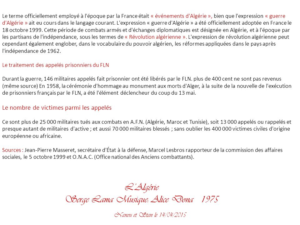 Serge lama l alg rie par nanou et stan ppt t l charger - L office national des anciens combattants et victimes de guerre ...
