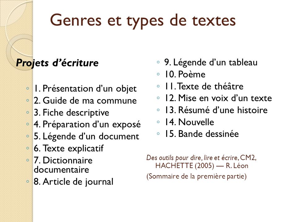 Genres et types de textes