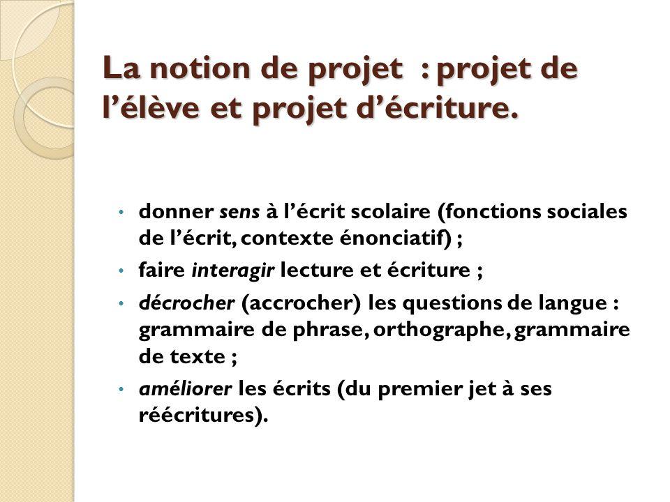 La notion de projet : projet de l'élève et projet d'écriture.