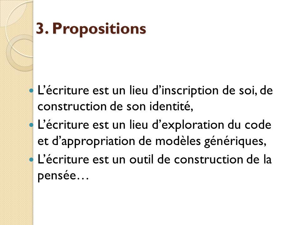3. Propositions L'écriture est un lieu d'inscription de soi, de construction de son identité,