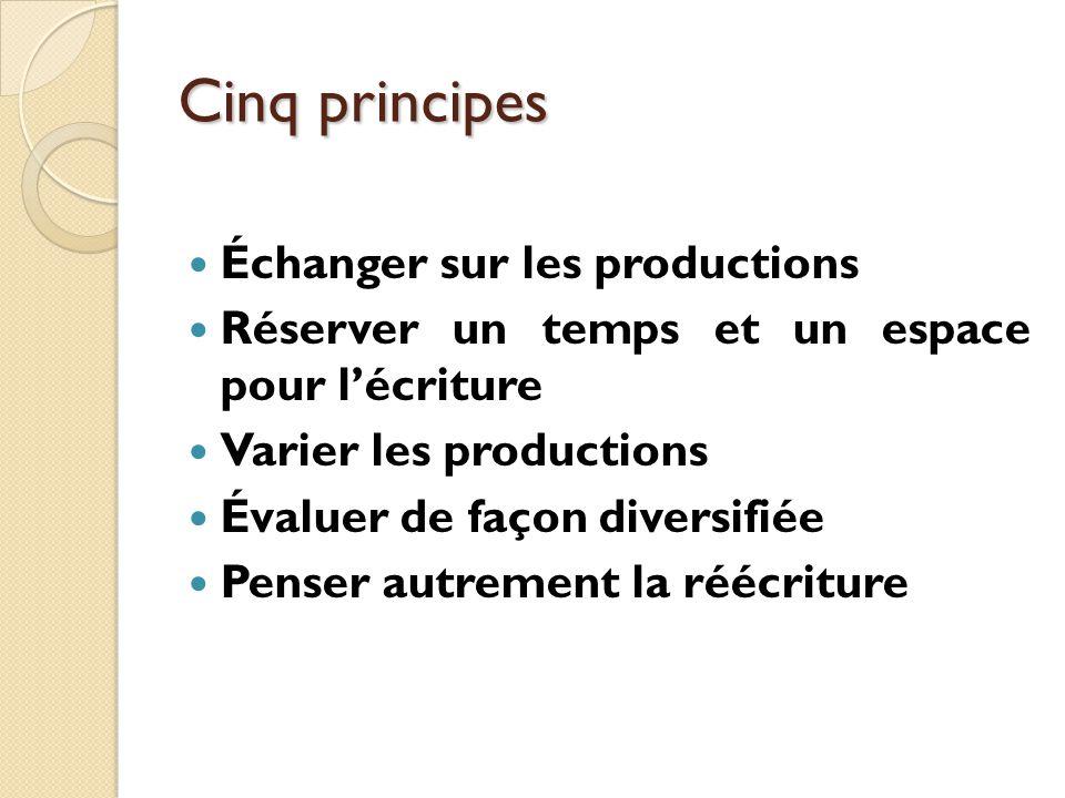 Cinq principes Échanger sur les productions