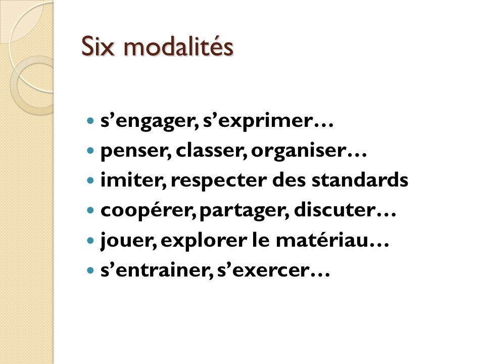 Six modalités s'engager, s'exprimer… penser, classer, organiser…