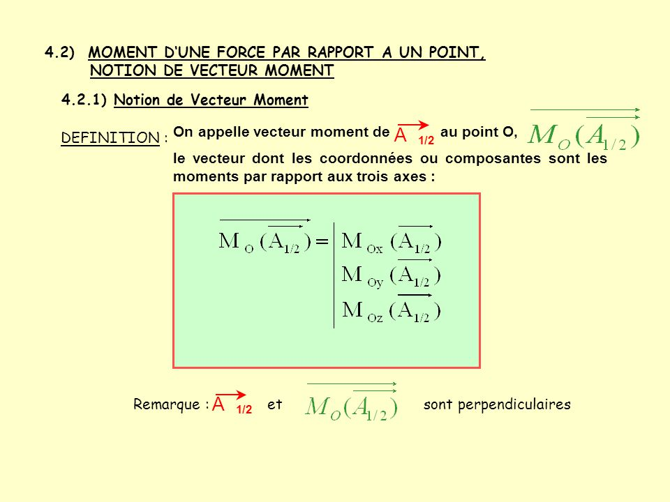 4.2) MOMENT D'UNE FORCE PAR RAPPORT A UN POINT, NOTION DE VECTEUR MOMENT