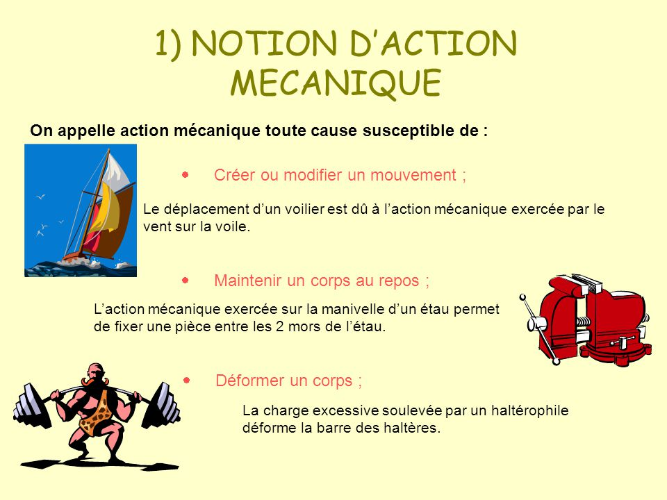 1) NOTION D'ACTION MECANIQUE
