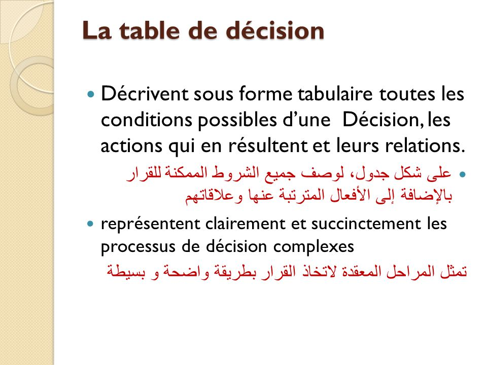 La table de décision